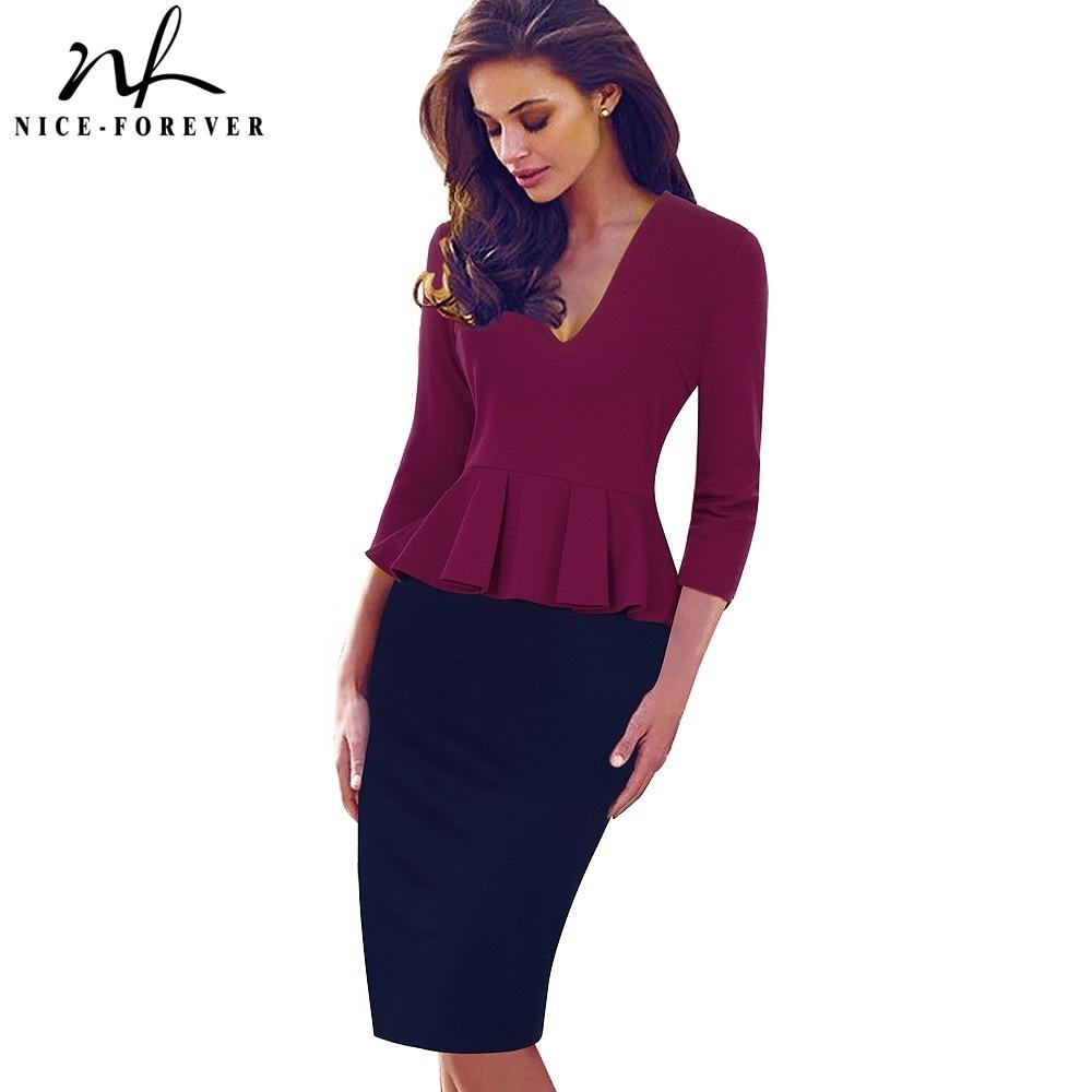 Nice-forever Casual Elegant Work Peplum Vintage dress Stylish Office Lady Patchwork 3/4 Full Sleeve Ruffle Pencil Dress b241