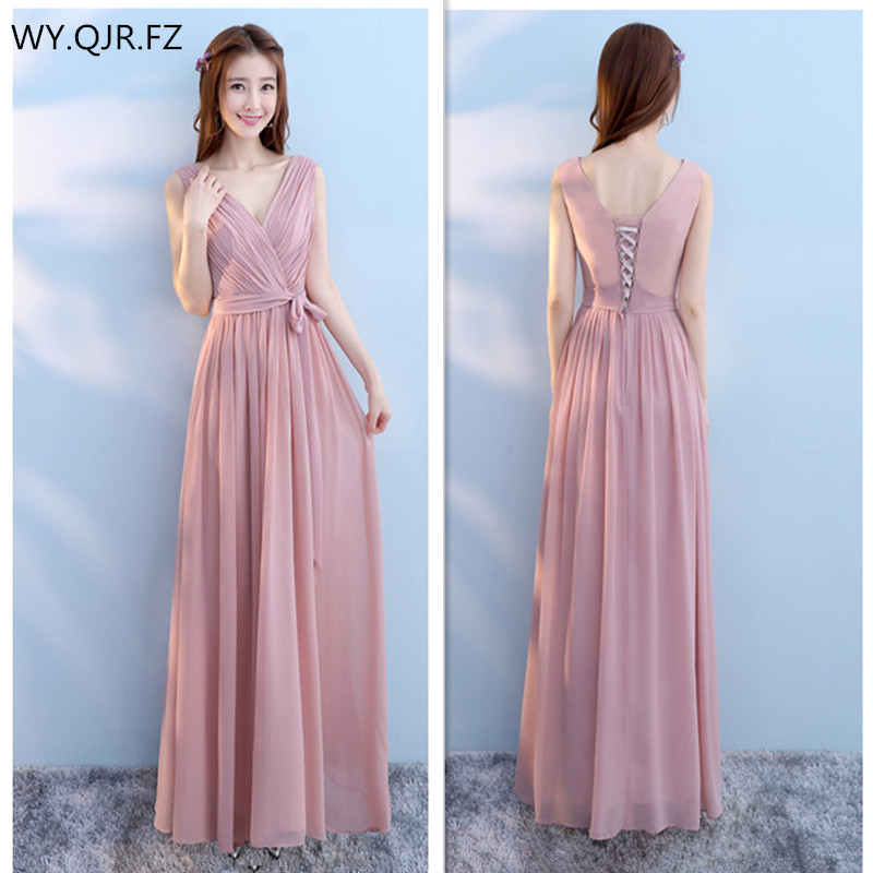 d7cb73c69800 PTH SJZL Chiffon lace up grey cameo brown long bridesmaid dresses 2018  autumn wedding party prom new sister dress wholesale Girl-in Bridesmaid  Dresses from ...