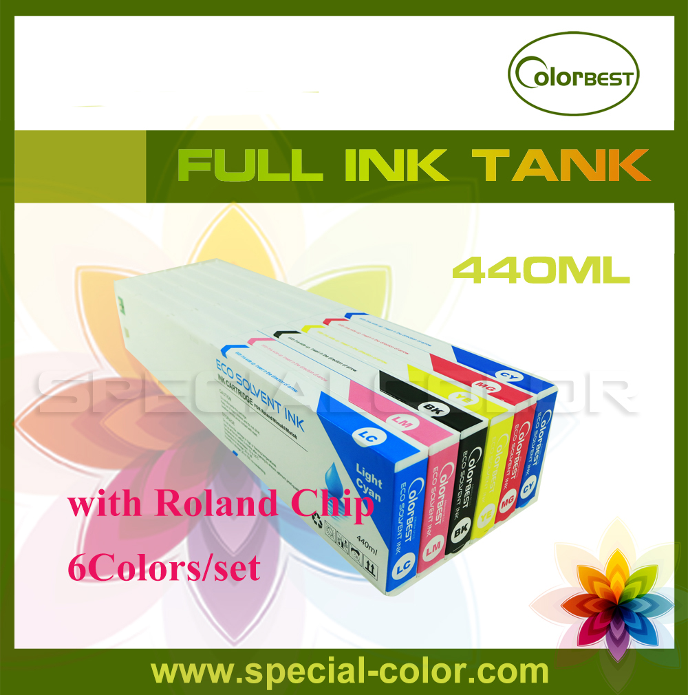 Roland eco solvent Full ink cartridge for XJ740/640/XC540 with chip 440ml 6 colors (CMYK LC LM) 4 colors set cmyk roland dx4 solvent printer full ink cartridge with chip