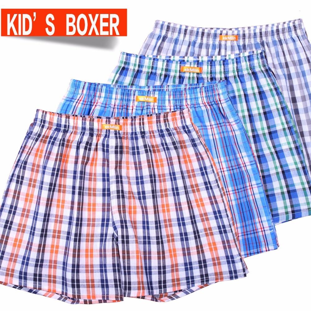4-PACK ekMlin Kid's Boxers Shorts 100% cotton woven