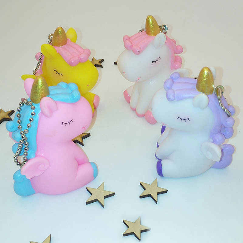 Unicórnio squishy jumbo bonito mini animal squeeze squishy kawaii som ornamento unicórnio chaveiro brinquedo para crianças antiestresse brinquedos