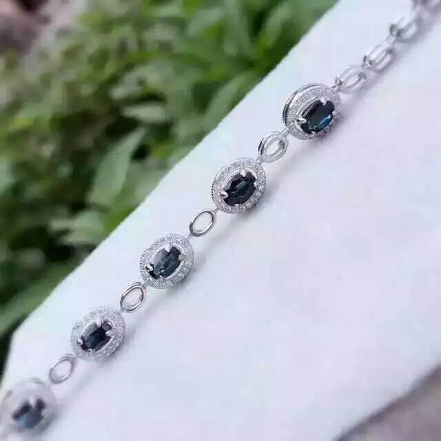 natural blue sapphire stone Bracelet Natural gemstone bracelet 925 sterling silver Classic elegant round for women party fine цена 2017