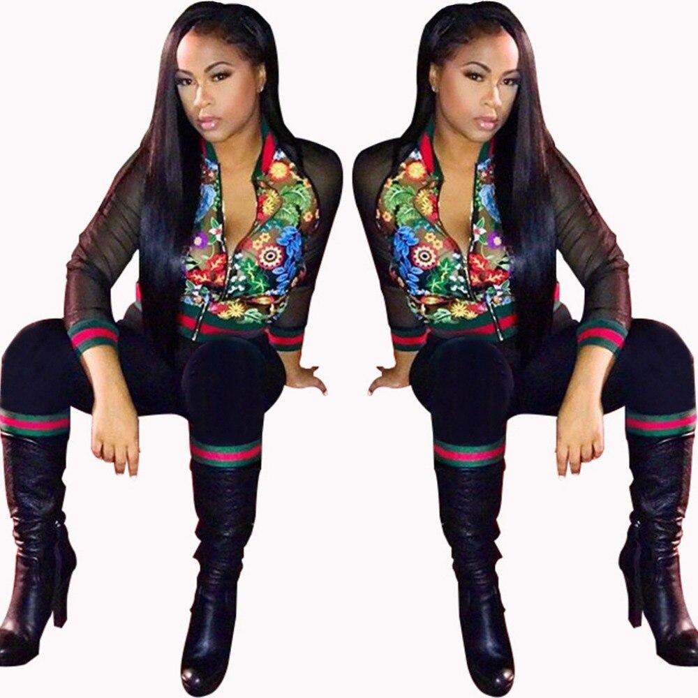 c758d5595fd Autumn Floral Print Mesh Patchwork 2 Piece Jumpsuit Casual Full Sleeve  Zipper Long Pant Bodysuit Black Club Bodycon Catsuits
