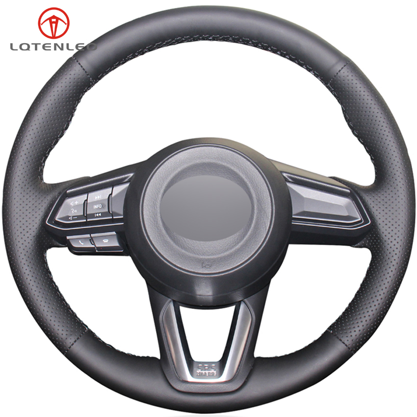 LQTENLEO Black Genuine Leather Car Steering Wheel Cover