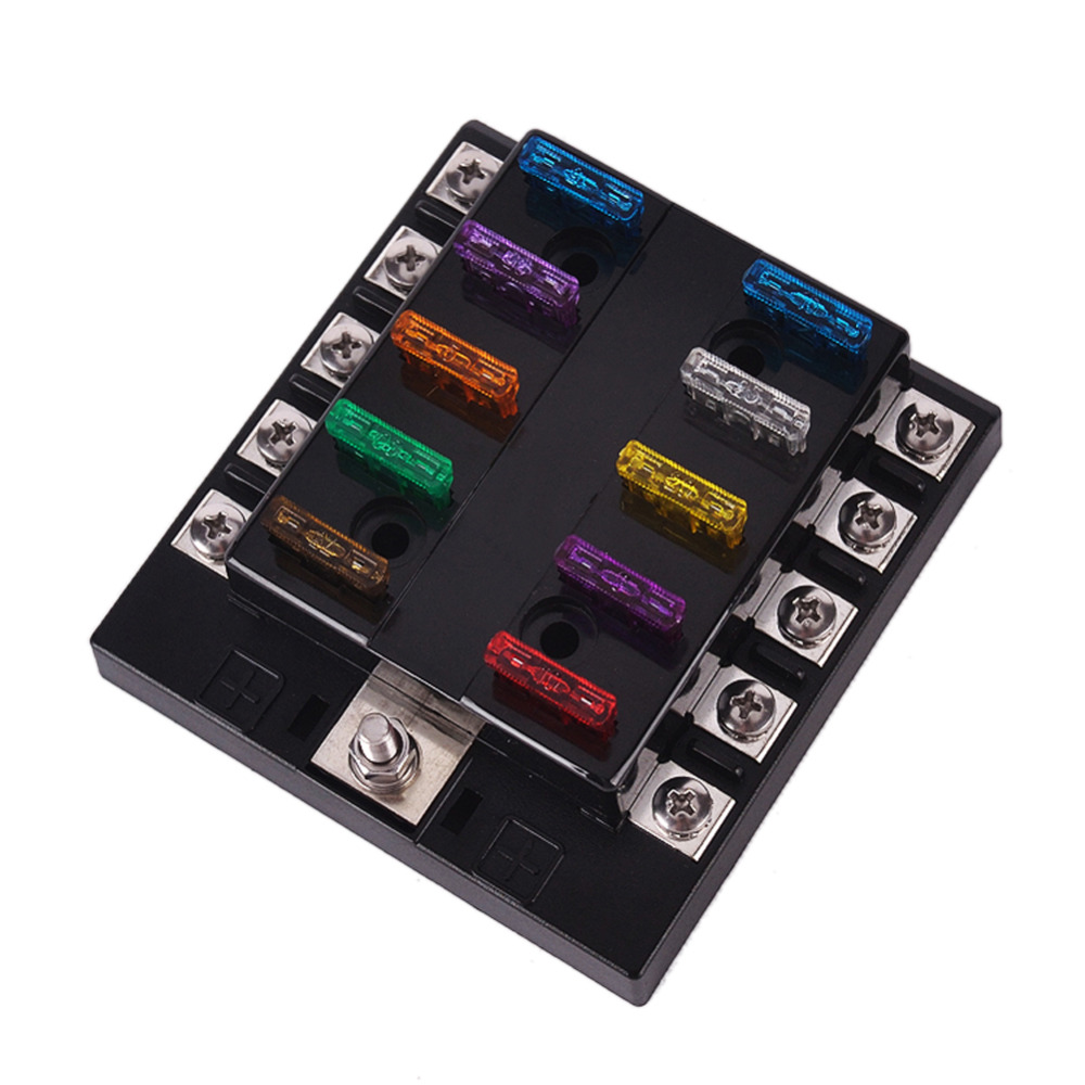 32V 10 Way Fuse Box 2A 3A 5A 7.5A 10A 15A 20A 25A 30A 35A Block Holder Box  for Car Vehicle Circuit Blade M Size