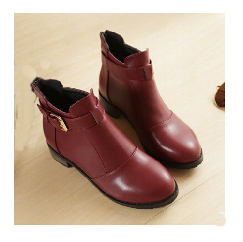ФОТО 2016 Autumn/winter Fashion Leather Boots Women Flats Ankle Boots Casual Round Toe Buckle Zip Martin Boots Size 33-43