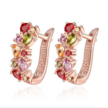 UK Queen Kate design brand women girl baby gold Plate Colorful  import zircon fashion crystal hoop earrings Jewelry E091