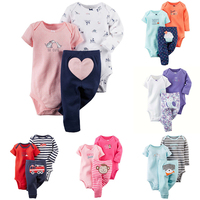 3Pcs Baby Clothing Set 2018 New Newborn Bodysuits Toddler 2Pcs Top Pants Infant Baby Girls Boys