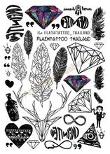 A6080-201 Big Black Tatuagem Taty Body Art Temporary Tattoo Stickers Feather Rainbow Diamond Glitter Tatoo Sticker