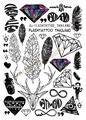 A6080-201 Большой Черный Taty tatuagem Боди-Арт Временные Татуировки Наклейки Перо Радуга Алмазный Блеск Тату Стикер