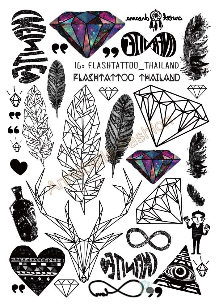 A6080 201 Big Black tatuagem Taty Body Art Temporary Tattoo Stickers Feather Rainbow Diamond font b