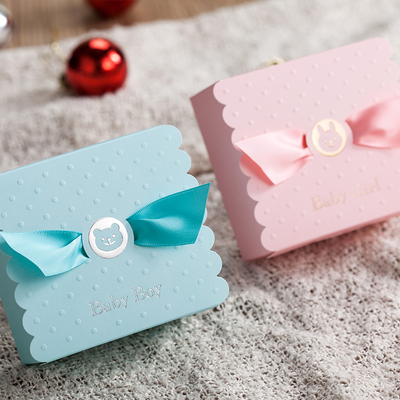 European Baby Boy Girl Party Angel Candy Boxes Baby Shower Favors Baby Birthday Party Sweet Box Chocolate Bag Box