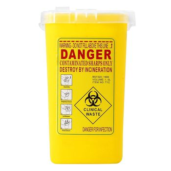 424c9b77d ATOMUS 1 pc amarillo tatuaje el recipiente de Objetos Cortopunzantes  PELIGRO BIOLÓGICO reunión barril suministros contenedor de basura para las  agujas ...