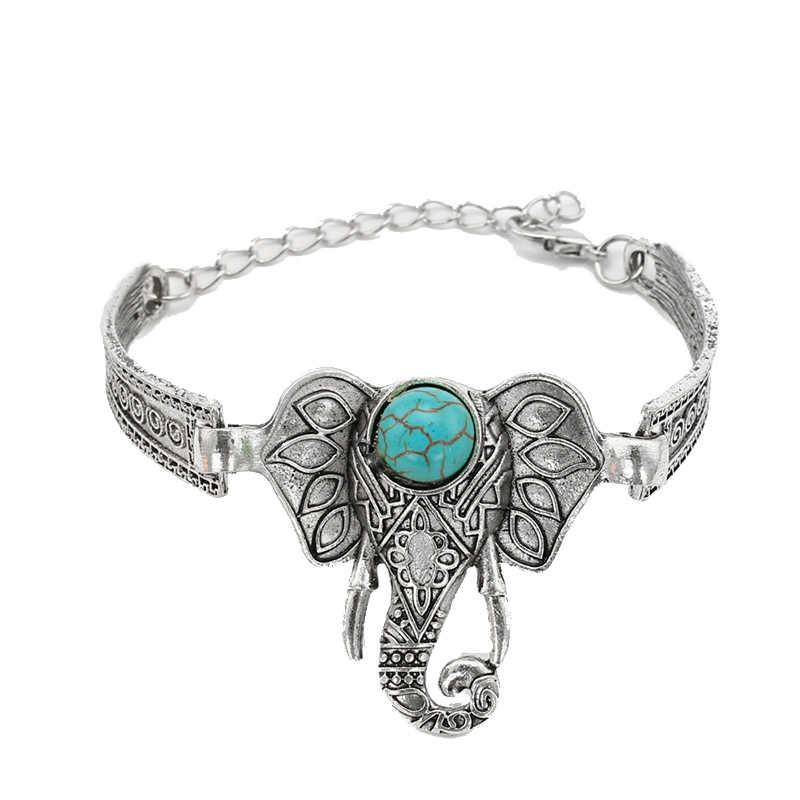 2 вида стилей манжета на руку слона регулируемый браслет Модный натуральный камень браслет античное серебро покрытые браслеты и браслеты для женщин
