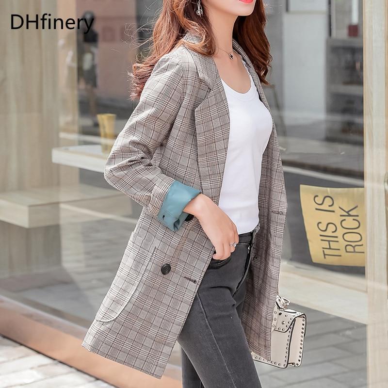 DHfinery Autumn winter   trench   coat women khaki Elegant Office Plaid Slim Coat for bust 100-134cm plus size XL-5XL B884
