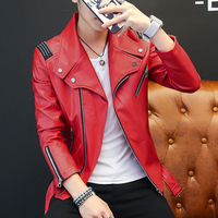 Classic Design New Fashion Mens PU Leather Jacket Red White Black Fall Winter Slim Male Faux Leather Motorcycle Coats