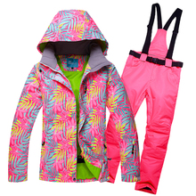 Waterproof Windproof Ski Suit Women Snowboard Jacket Pants Winter Snowboard Jacket Pants Mountain Skiing Suit Women Snow Clothes