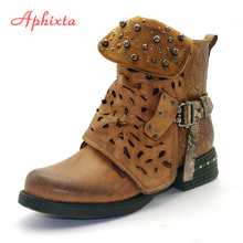 Aphixta 2018 New Rivets Ankle Boots For Women Zip Vintage Buckle Round Toe Leather Shoes Square High Heels Ladies