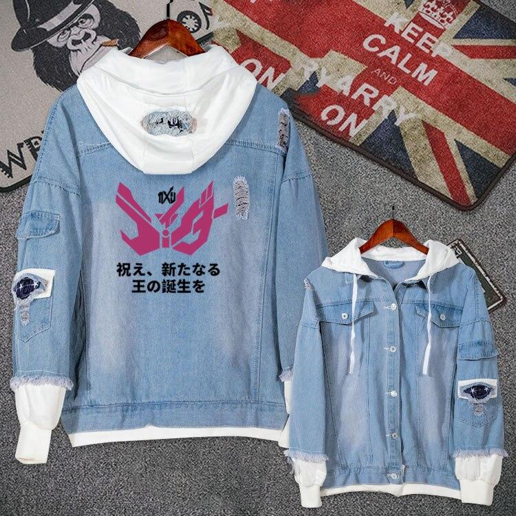 Anime Kamen Rider Zi-O Cosplay Casual Jacket Jeans Coat Teen Boy Girls Autumn Hooded Sweatshirt Fashion Denim Outwear Loose Tops