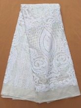 New design african lace fabric 2018 white color french tulle lace fabric for wedding dress.Swiss voile lace in switzerland