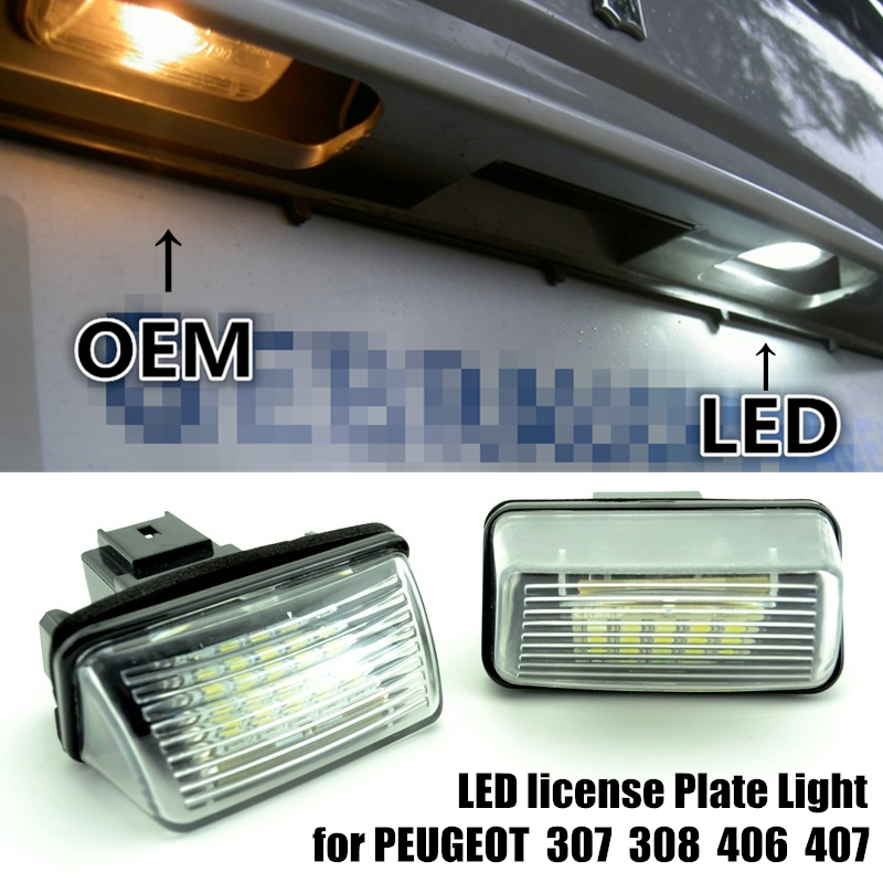 1 pāra automašīnas numura zīmes LED apgaismojums PEUGEOT 206 207 - Auto lukturi