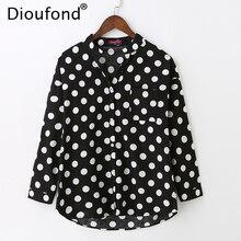 Dioufond Women Polka Dot White Black Blouse Shirt Long Sleeve V-neck Casual Loose Blouses One Pocket Fashion Tops 2017 New