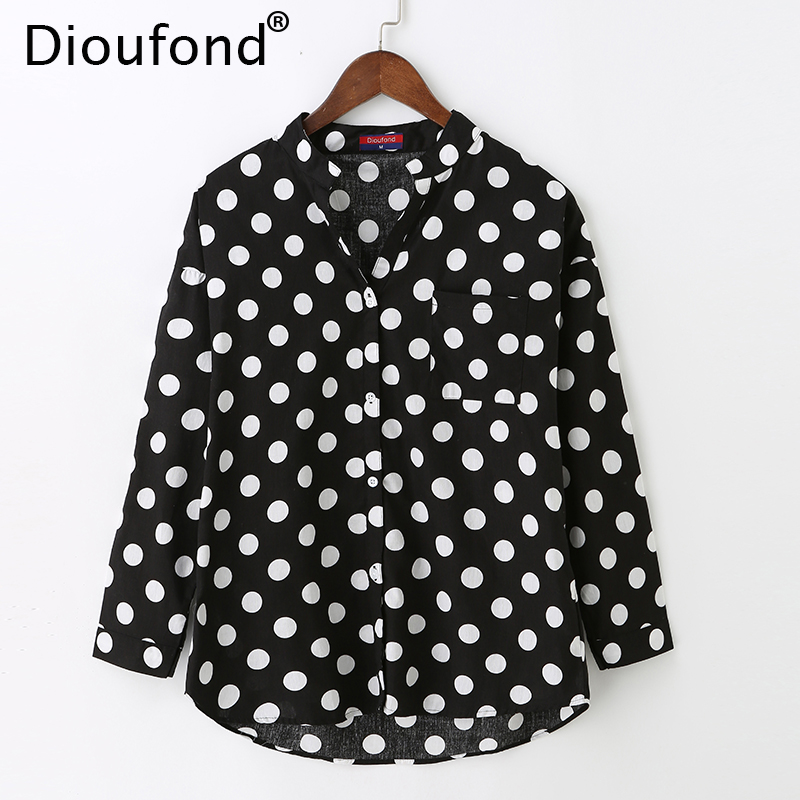 Dioufond Women Polka Dot White Black   Blouse     Shirt   Long Sleeve V-neck Casual Loose   Blouses   One Pocket Fashion Tops 2017 New