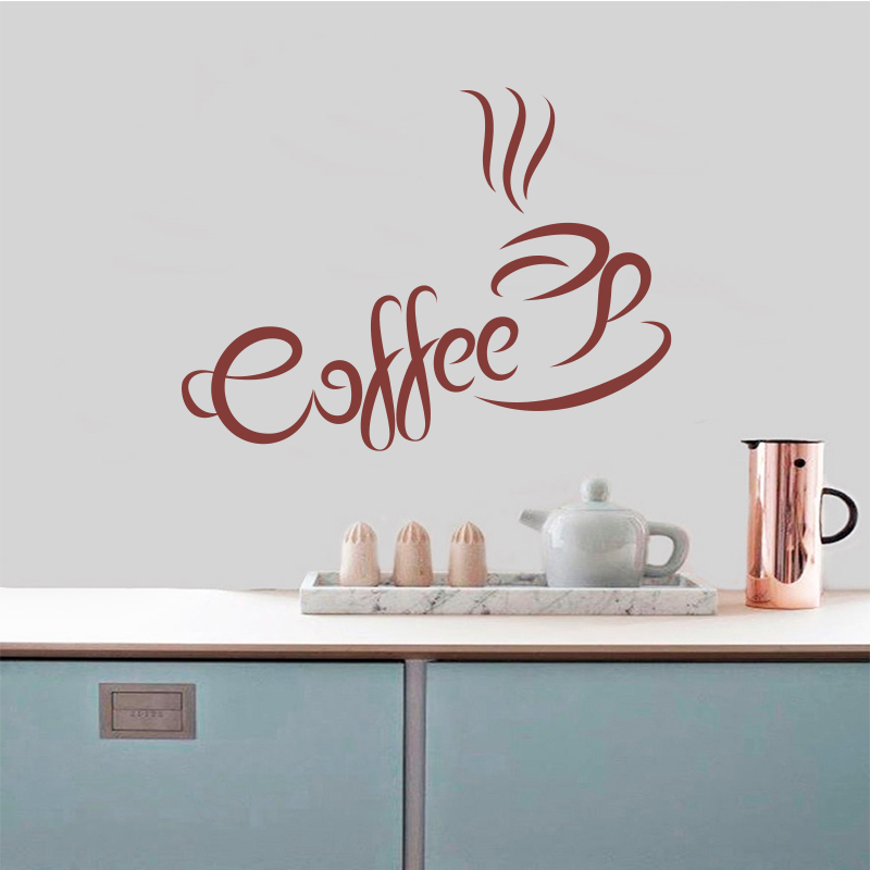 Coffee cup wall stickers kitchen coffee shop vinyl wall ...