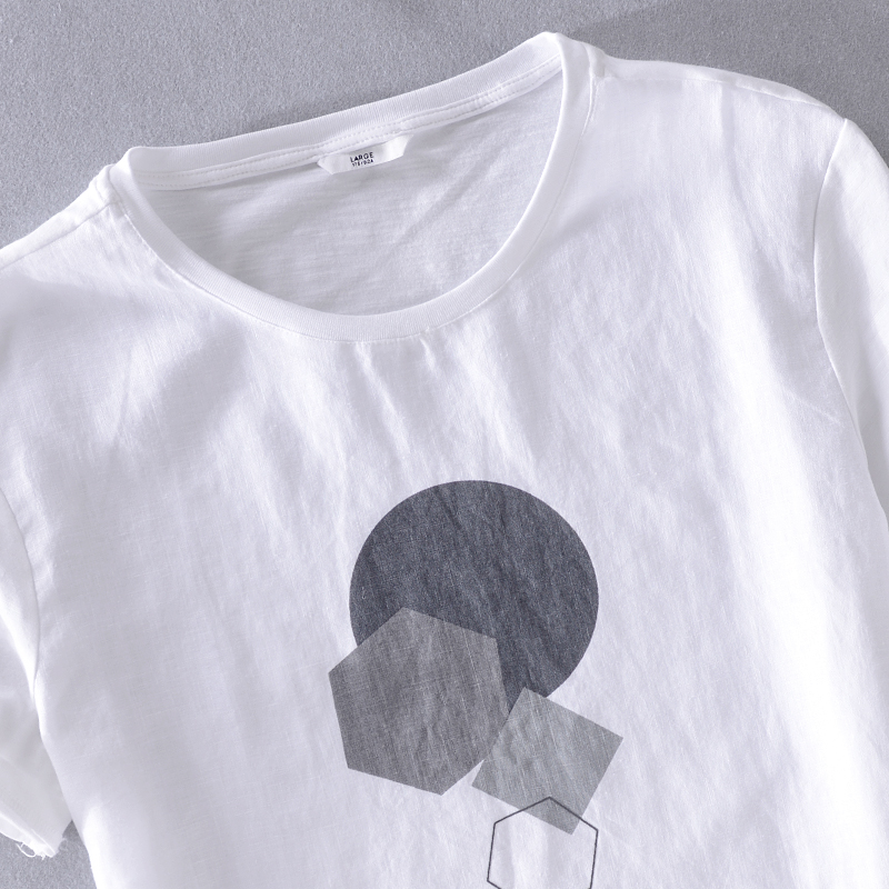 2019 Summer printed linen short-sleeved t-shirt men white trend male t shirt brand Japanese style t shirts mens camisa chemise