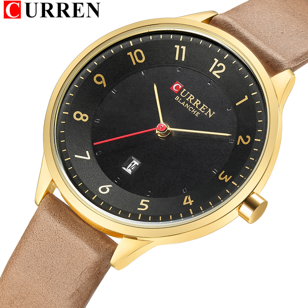 CURREN Ultra Thin Watches Womens Fashion Genuine Leather Quratz Wris Watch Reloj Mujer Casual Calendar Clock Female Montre Femme