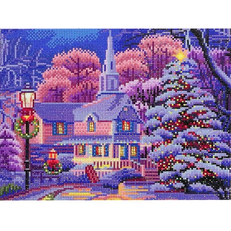 5D DIY Full Drill Diamond Painting LED Light Cross Crafts Stitch Embroidery Kits