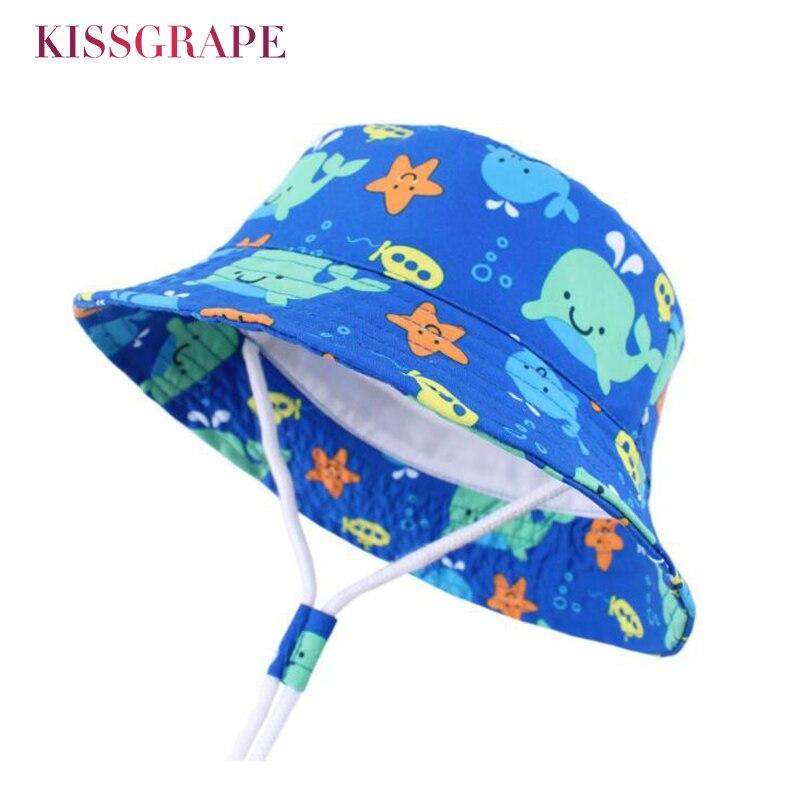 2019 New Baby Boys Cartoon Animals Panama Bob Hat Kids Spring Bucket Sun Childrens Reversible Protection Cap