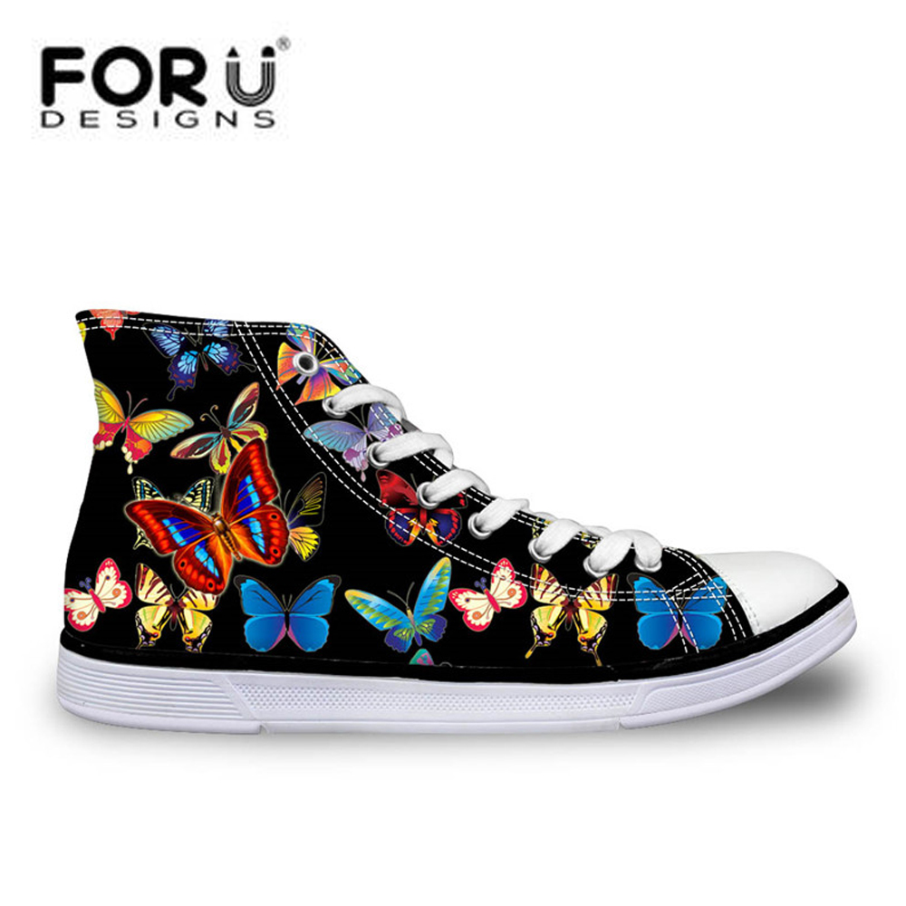 FORUDESIGNS  Women Casual Canvas Shoes,High Top Butterfly Woman Flats Walking Shoes Lace-up Vulcanize Shoes Chaussure FemmeFORUDESIGNS  Women Casual Canvas Shoes,High Top Butterfly Woman Flats Walking Shoes Lace-up Vulcanize Shoes Chaussure Femme