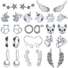 INBEAUT Women Trendy Stud Earrings 925 Sterling Silver Colorful Dream Wing Unicorn Cute Cat Bear Paw Earrings for Birthday Gift недорого