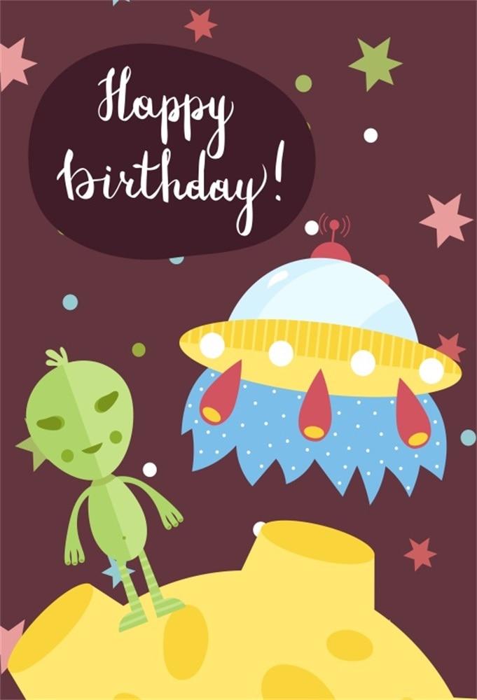 Laeacco Happy Birthday ET OVNI escena bebé niños fondos - Cámara y foto