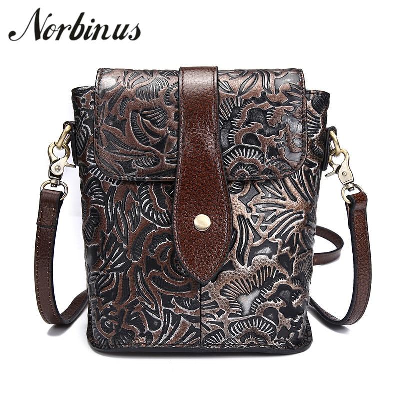 Norbinus Genuine Leather Women Shoulder Bags Vintage Embossed Female Messenger Flap Bag Ladies Small Cow Leather