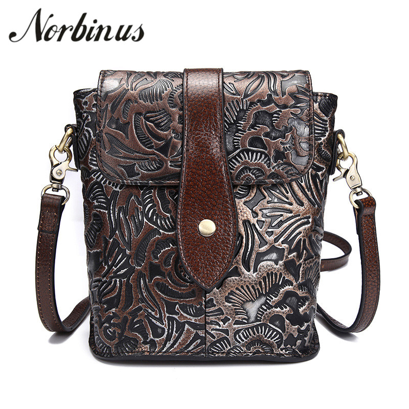 Norbinus Women Shoulder Bags Genuine Leather Messenger Flap Bag Embossed Bag Female Phone Pouch Ladies Small Leather Handbags knitting designer genuine leather ladies small woven flap purse messenger bag vintage female women s single shoulder sling bag