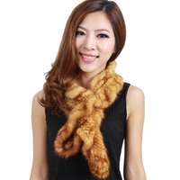 HARPPIHOP FUR Mink hair scarf ruffle hem mink scarf handmade knitted fur scarf fashion multi color thermal