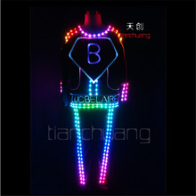 TC-125 Full color LED colorful lighted robot mens costumes led party dj wears ballroom disco dance suit Programmable LED clothes