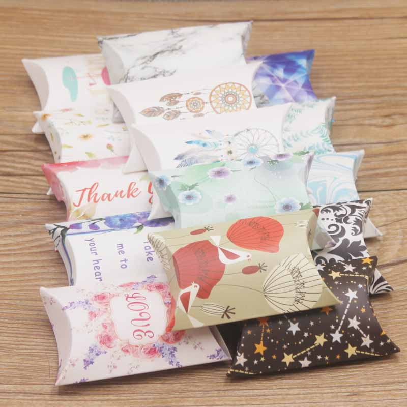 20pcs  Newest Design  Earring Necklace Kids Gift Candy Box Delicate Package Cute Snacks Small Box 80X50X20mm Popular Leaf Style
