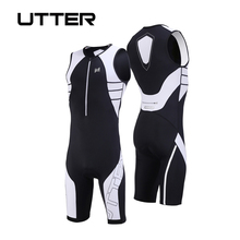 купить UTTER Armour A3 One Piece Black and White Cycling Jersey Sets Men Anti-UV Breathable Triathlon Suit Sleeveless Cycling Clothing дешево