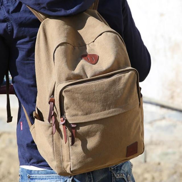 Muzee Hot Sale 2016 New Fashion Arcuate Leisure Men's Backpack Zipper Solid Canvas Backpack School Bag Travel Bag ME_0528