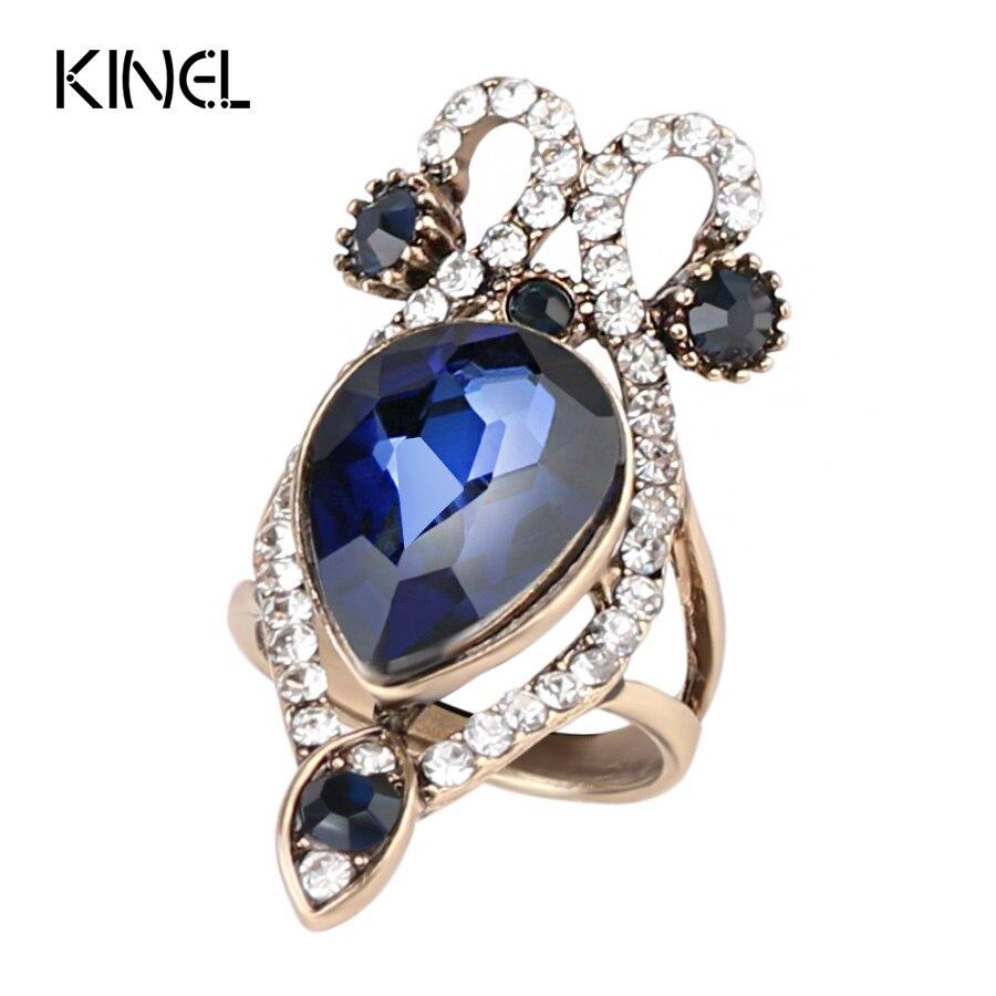 Verlobungsringe Willensstark Kinel Luxus Blau Glas Ringe Für Frauen Big Kristall Antike Goldfarbe Punk Hochzeit Ring Vintage-schmuck Party Geschenk