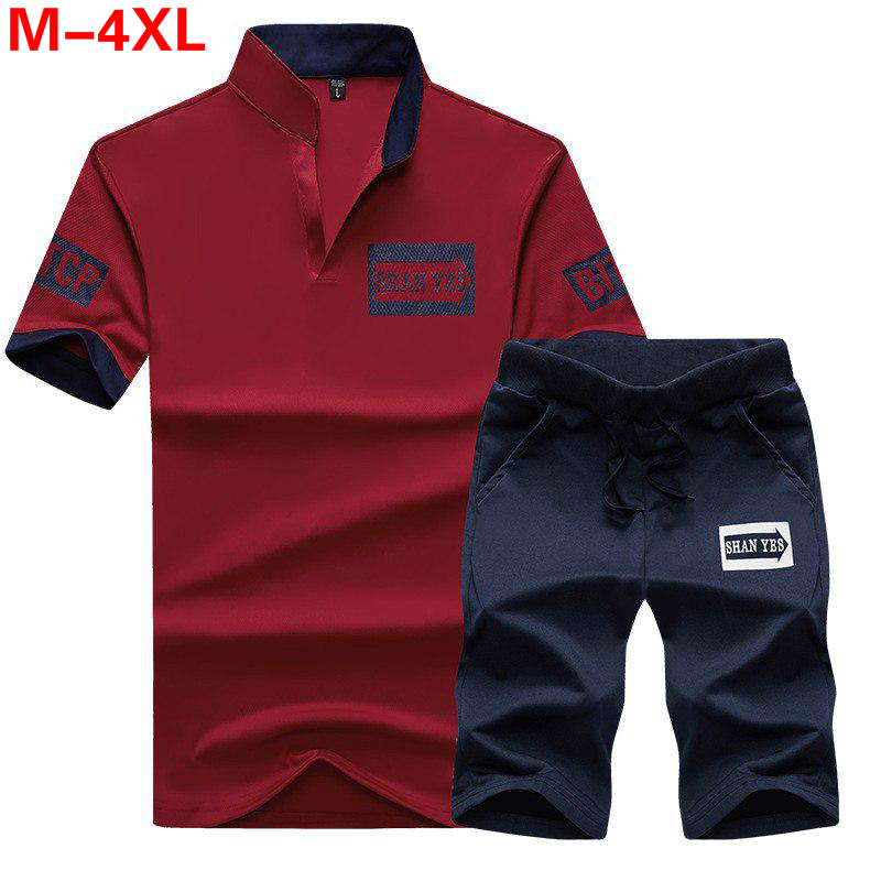 Fitness Sportsuits Set Men Polo Shirt Mens Short Sleeve Polo + Shorts Suit Male Tracksuit Jersey Breathable 2PC Top Short Sets