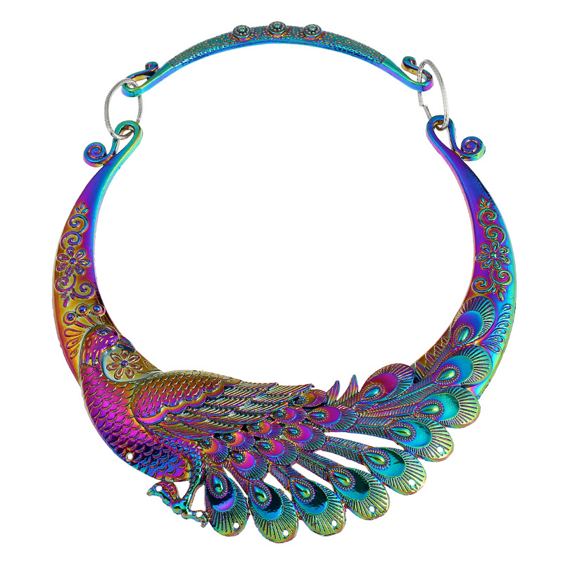 KMVEXO Etnico Collare Della Collana Del Choker Charming Multicolor Laser Gioielli Pavone Cinese Drago Maxi Collane Collana di Dichiarazione