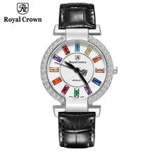 Prong configuração relógio de luxo senhora relógio feminino moda horas pulseira colorido strass menina presente aniversário coroa real caixa