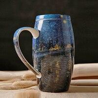 Herstellen Oude Manieren Hand Made Keramische Koffie met Deksel Bone China Van gogh Klassieke Schilderen Drink Mok Ochtend SH279-168