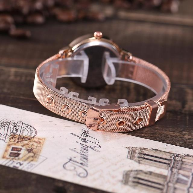 Watch Women Dress Stainless Steel Band Analog Quartz Wristwatch Fashion Luxury Ladies Golden Rose Gold Watch Clock reloj mujerM3