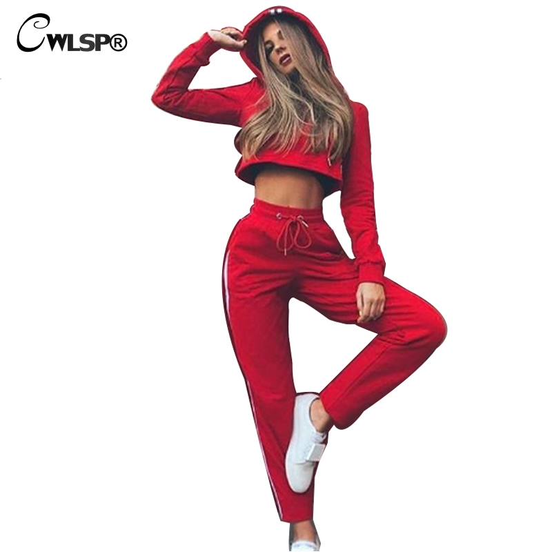 CWLSP 2017 Autumn Casual Long Sleeve Women Sweater 2 piece Set Lace Up Striped Women Suits