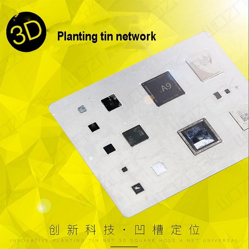 Wozniak 3D BGA Reballing Stencil for A8 A9 A10 A11 Steel Tin Plate Planting Net For Iphone 6 6P 6S 6SP 7 7P Dedicate Kit
